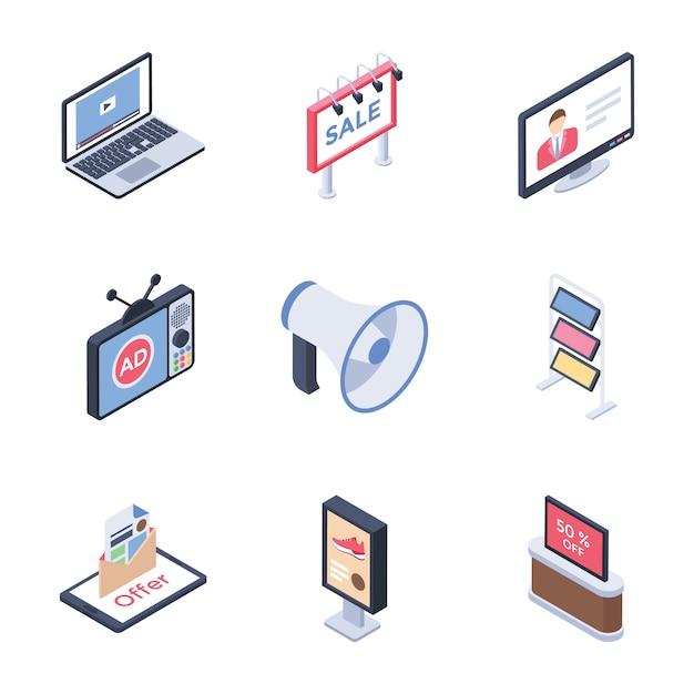Pacote de ícones de canais de mídia de publicidade digital Vetor Premium