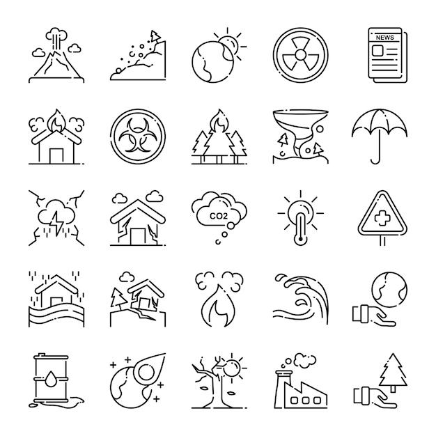 Pacote de ícones de desastre, com estilo de ícone de estrutura de tópicos Vetor Premium