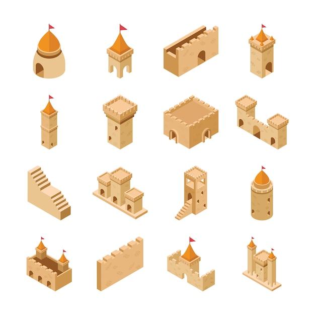 Pacote de ícones de elementos do castelo medieval Vetor Premium