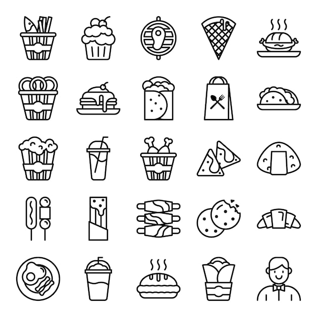 Pacote de ícones de fast-food Vetor Premium