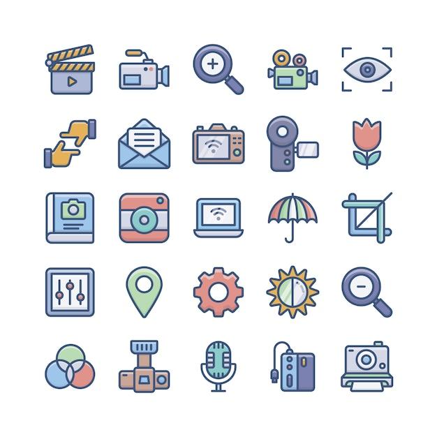Pacote de ícones de fotografia digital Vetor Premium