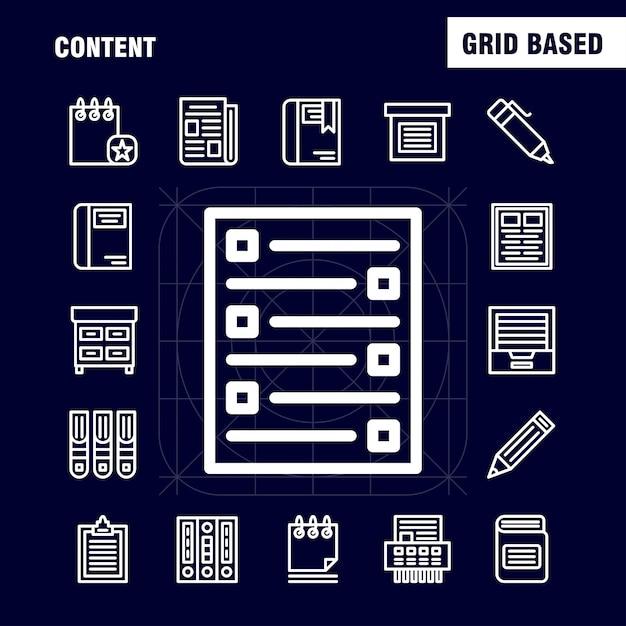 Pacote de ícones de linha de conteúdo para designers e desenvolvedores Vetor grátis
