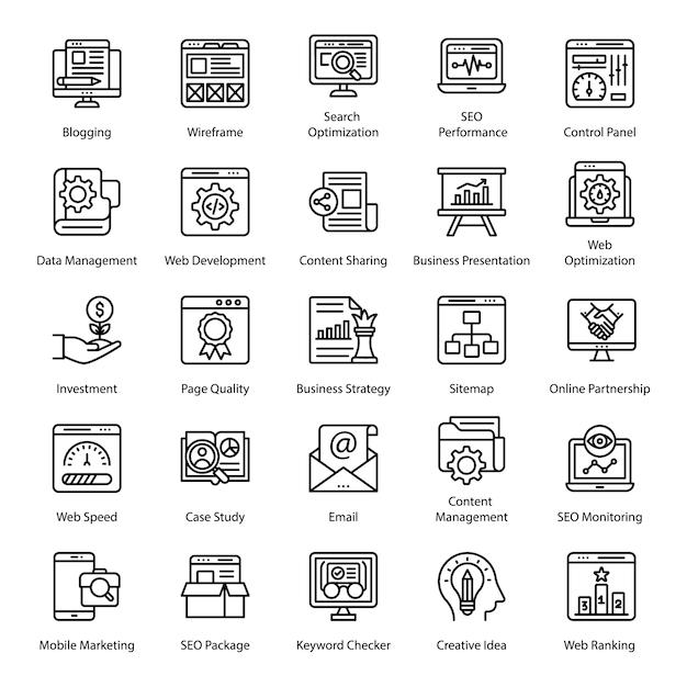 Pacote de ícones de linha de seo Vetor Premium