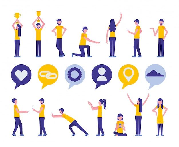 Pacote de ícones de marketing de mídia social e da comunidade Vetor grátis