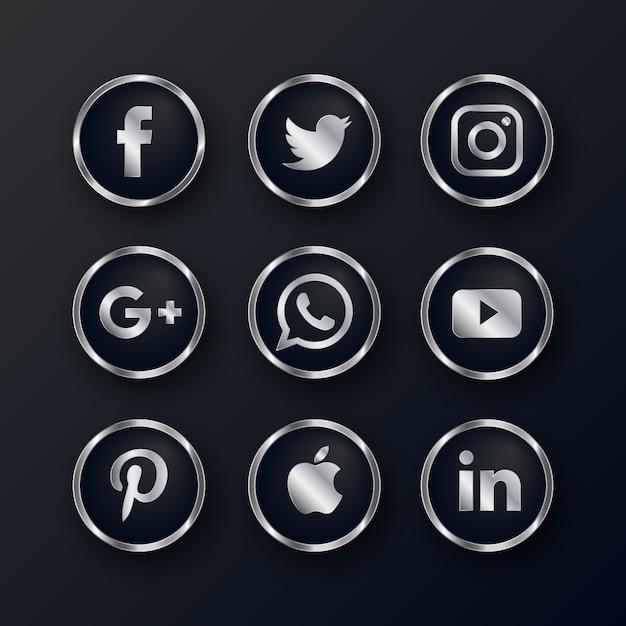 Pacote de ícones de mídia social prata luxo Vetor grátis