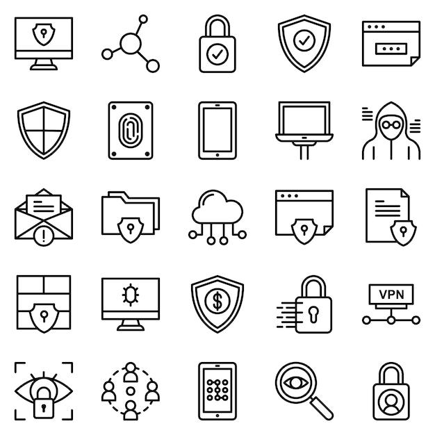 Pacote de ícones de segurança de proteção, com estilo de ícone de estrutura de tópicos Vetor Premium