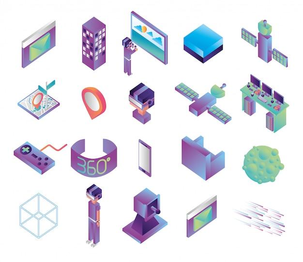 Pacote de ícones de tecnologia de realidade virtual Vetor grátis