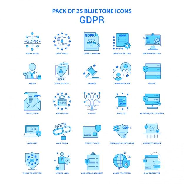 Pacote de ícones de tom azul gdpr Vetor grátis