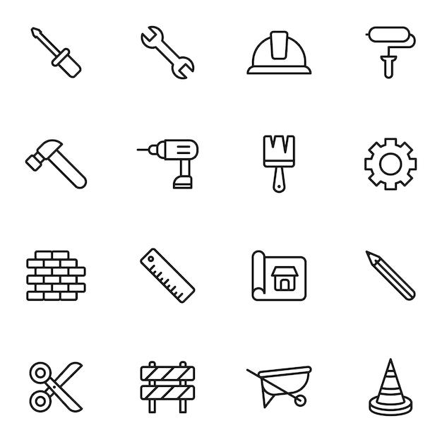 Pacote de ícones de trabalho e construção, estilo de ícone de estrutura de tópicos Vetor Premium