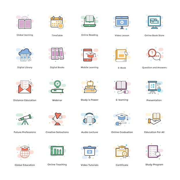 Pacote de ícones de vetor de e-learning Vetor Premium