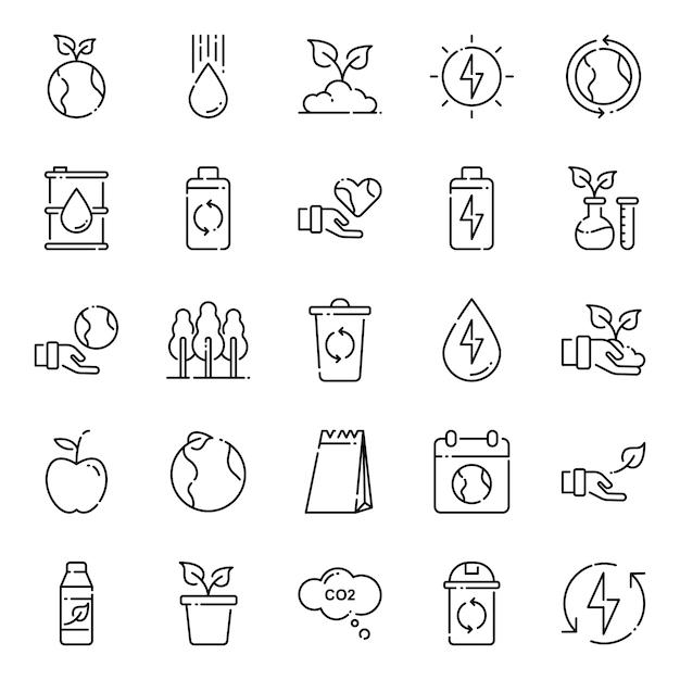 Pacote de ícones do ambiente, com estilo de ícone de estrutura de tópicos Vetor Premium