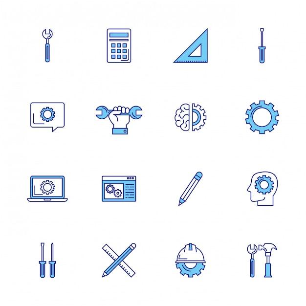 Pacote de ícones do conjunto de engenharia Vetor grátis