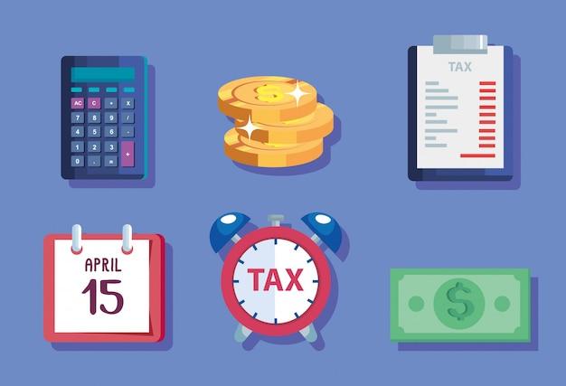 Pacote de ícones do dia do imposto Vetor Premium