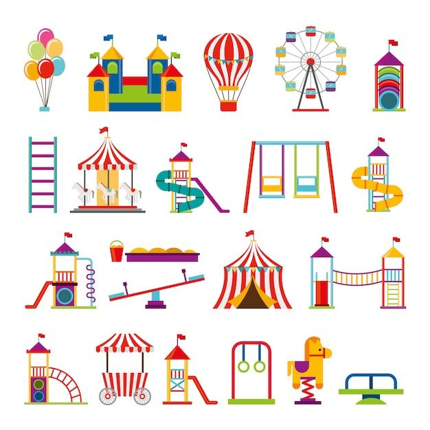 Pacote de ícones do parque de diversões conjunto Vetor grátis