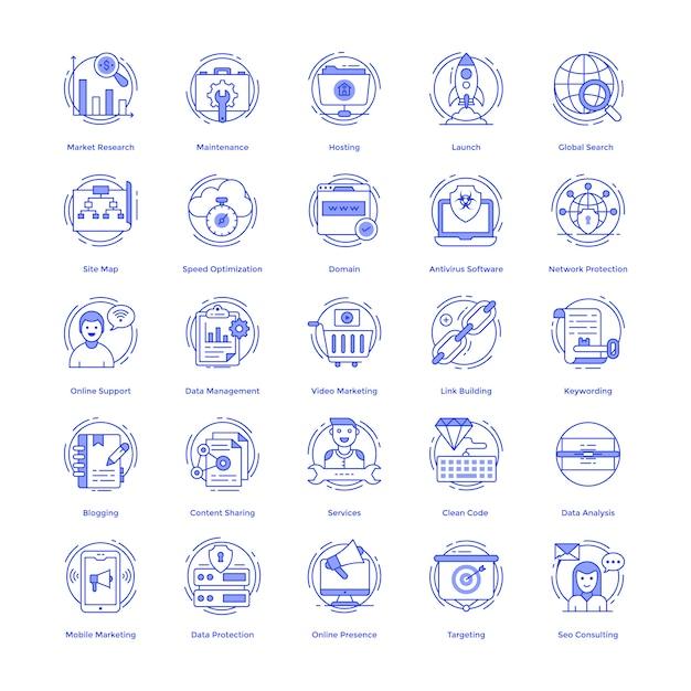 Pacote de ícones do vetor de seo Vetor Premium