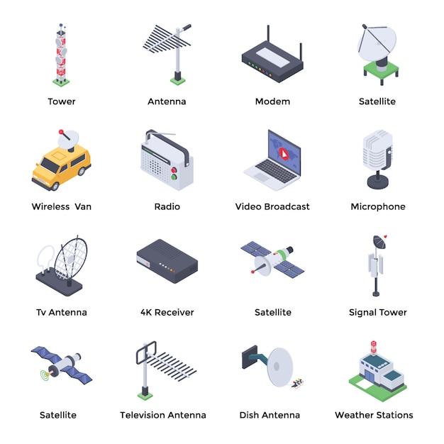 Pacote de ícones isométrica de telecomunicações Vetor Premium