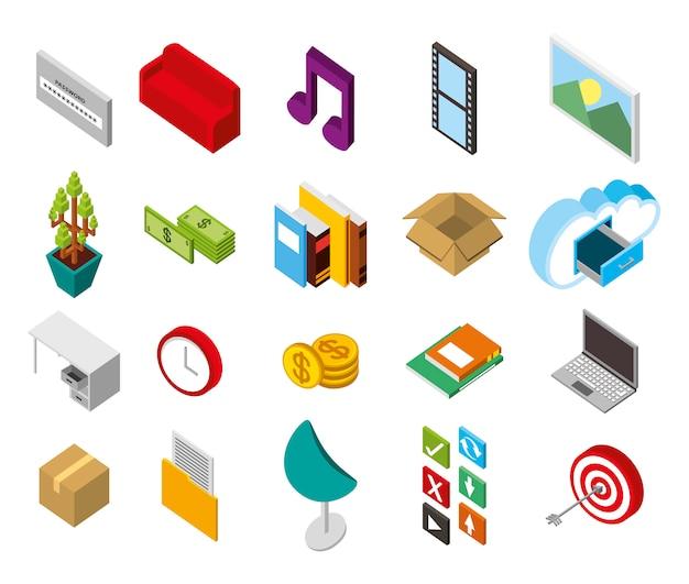 Pacote de ícones isométricos de conjunto de armazenamento de data center Vetor grátis