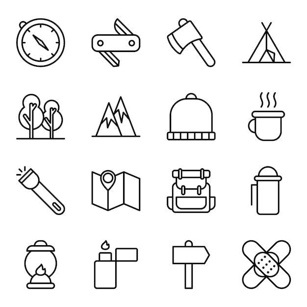 Pacote de ícones para caminhadas, com estilo de ícone de contorno Vetor Premium