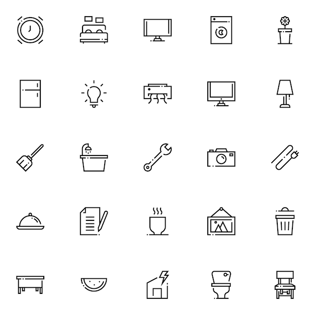Pacote de ícones para uso doméstico, com estilo de ícone de contorno Vetor Premium