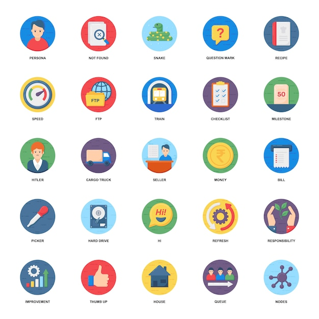 Pacote de ícones plana de gestão de negócios Vetor Premium