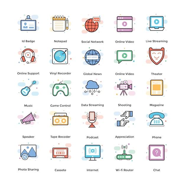 Pacote de ícones plana de radiodifusão Vetor Premium