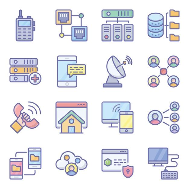 Pacote de ícones plana de tecnologia de rede Vetor Premium