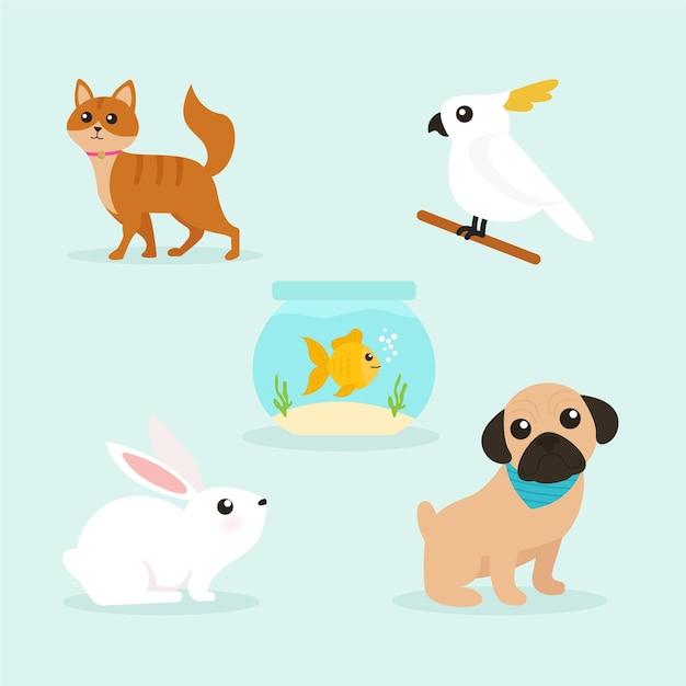 Pacote de ilustração de animais diferentes Vetor grátis