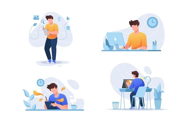 Pacote de ilustração de designers Vetor Premium