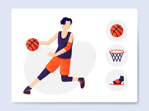 Pacote de ilustração de equipamento de basquete moderno Vetor Premium