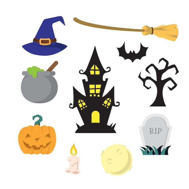 Pacote de ilustração de item de halloween Vetor Premium