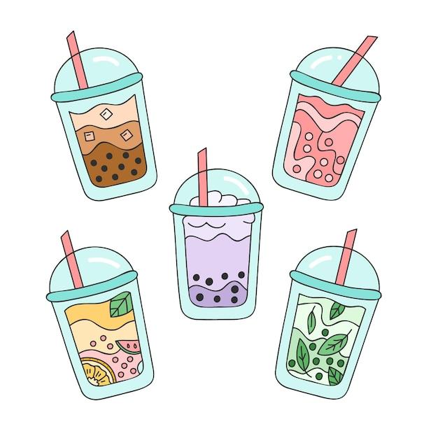 Pacote de ilustração de sabores de chá de bolha desenhada à mão Vetor Premium