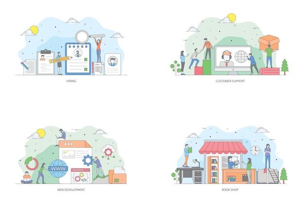 Pacote de ilustração plana conceitual Vetor Premium