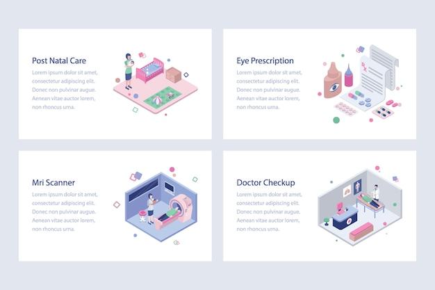 Pacote de ilustrações isométricas de cuidados de saúde Vetor Premium