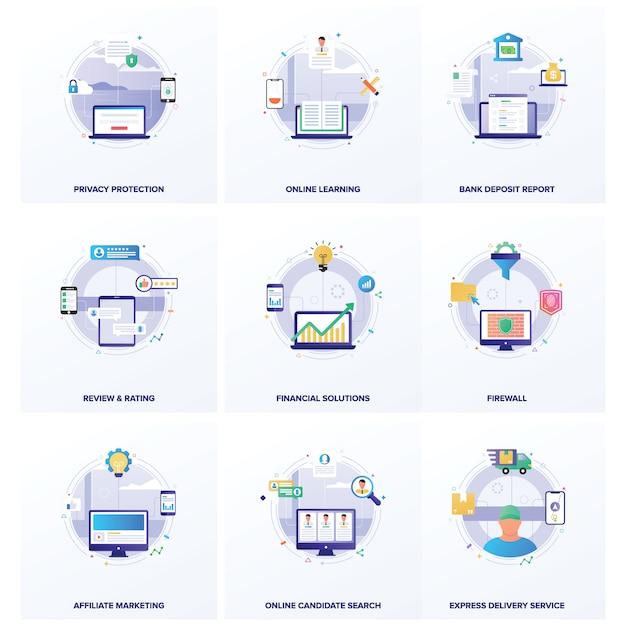 Pacote de ilustrações planas de negócios de seo Vetor Premium