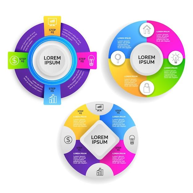 Pacote de infográfico radial gradiente Vetor grátis