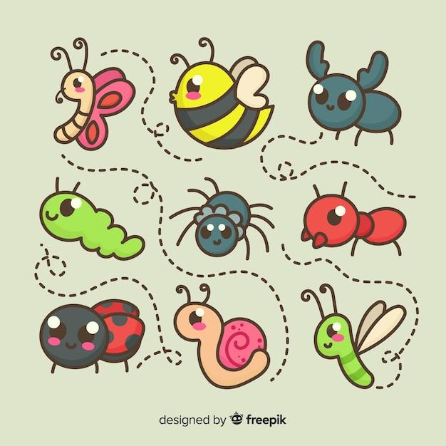 Pacote de insetos bonito dos desenhos animados Vetor grátis