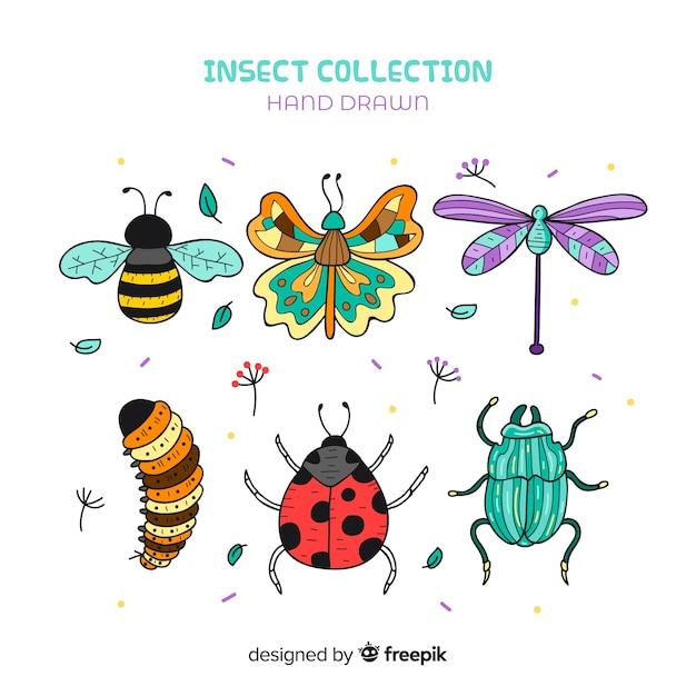 Pacote de insetos dos desenhos animados Vetor grátis