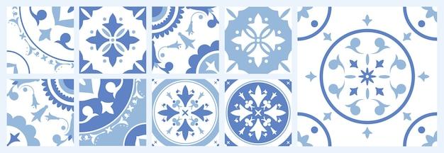 Pacote de ladrilhos de cerâmica com vários padrões orientais tradicionais Vetor Premium