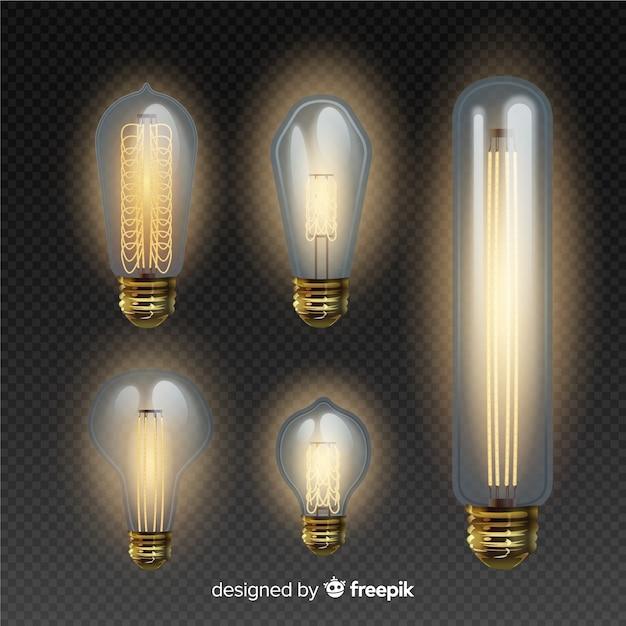 Pacote de lâmpadas em estilo realista Vetor grátis
