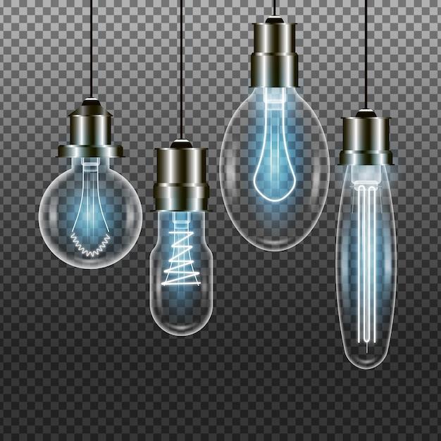 Pacote de lâmpadas realistas Vetor grátis