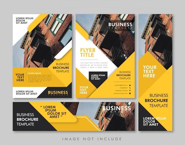 Pacote de layout amarelo de negócios Vetor Premium