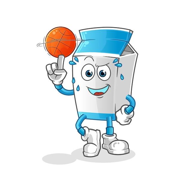 Pacote de leite jogando bola de basquete mascote Vetor Premium
