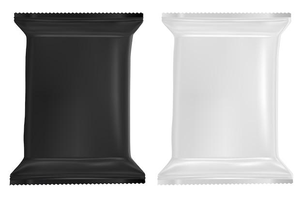 Pacote de lenços umedecidos em branco maquete de sachê de plástico. design realista de pacote de lenços umedecidos para papel alumínio Vetor Premium