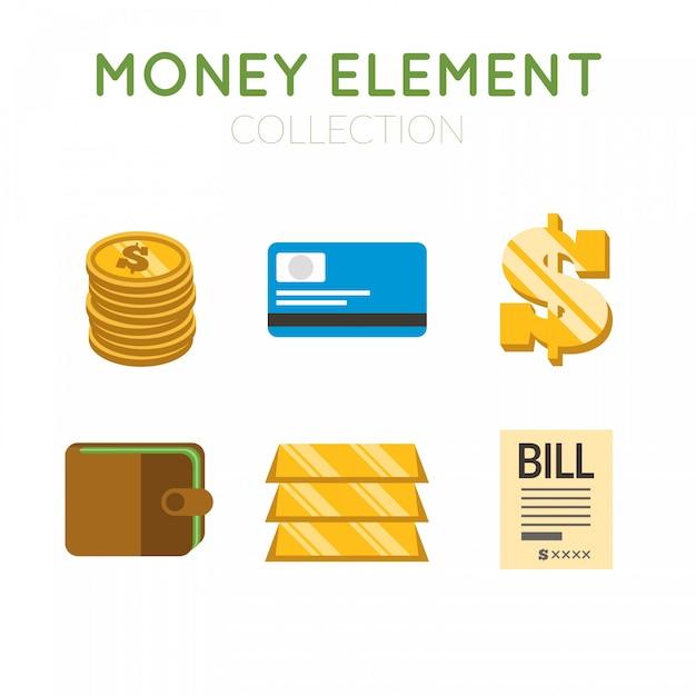 Pacote de lingotes de ouro e itens de dinheiro Vetor grátis