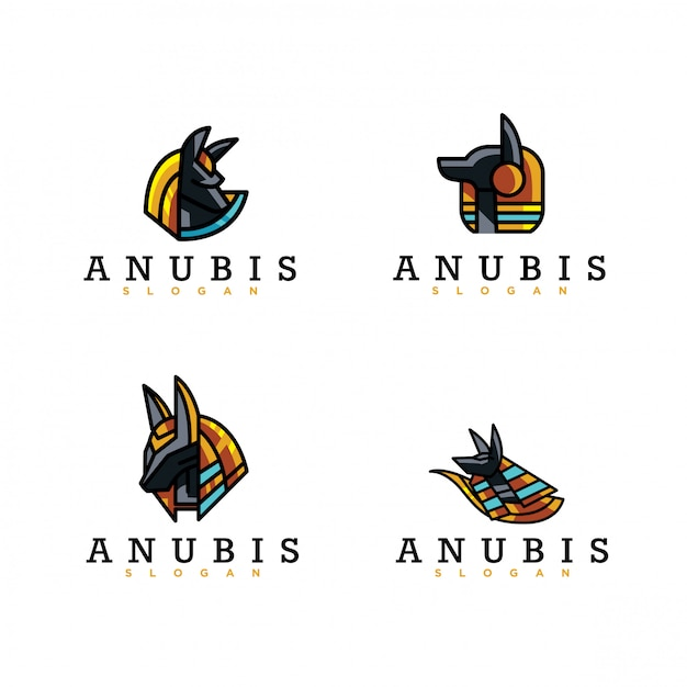 Pacote de logotipo anubis Vetor Premium