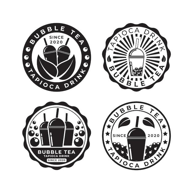 Pacote de logotipo bubble tea Vetor Premium
