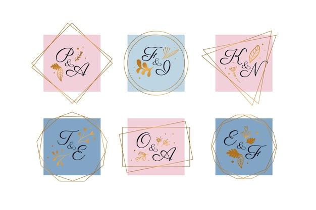 Pacote de logotipo de casamento pastel Vetor grátis