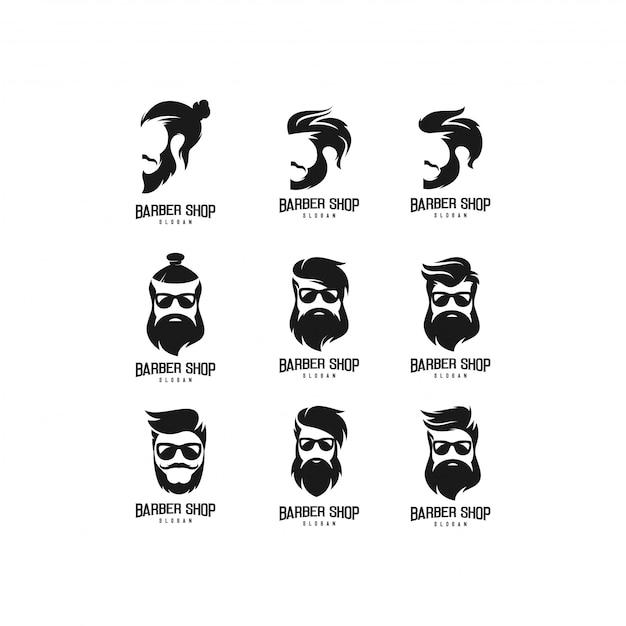 Pacote de logotipo de loja de barbeiro Vetor Premium