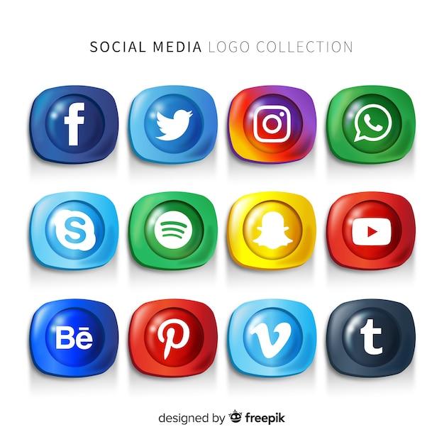 Pacote de logotipo de mídia social de gradiente Vetor grátis