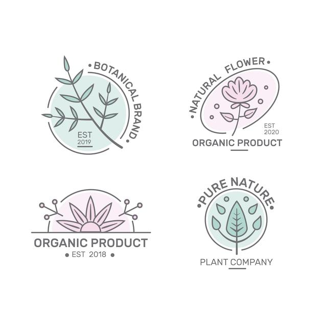 Pacote de logotipo de negócios naturais em estilo minimalista Vetor grátis